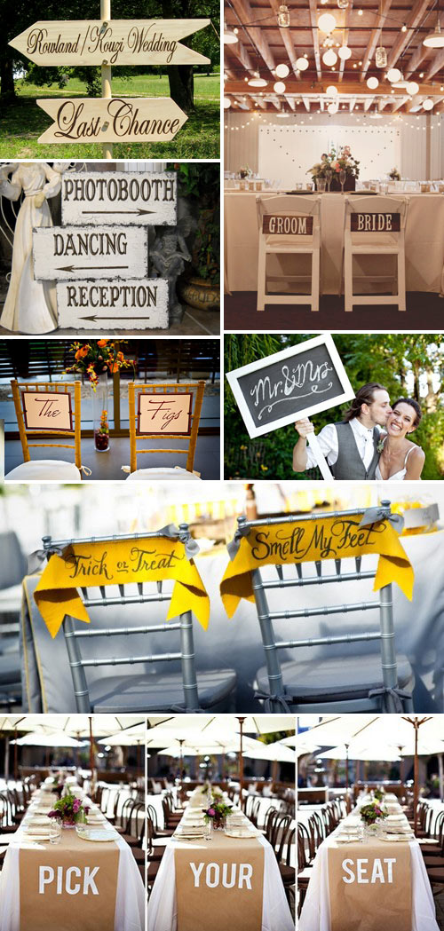 Rustic or shabby chic bought or homemade wedding signs have become a